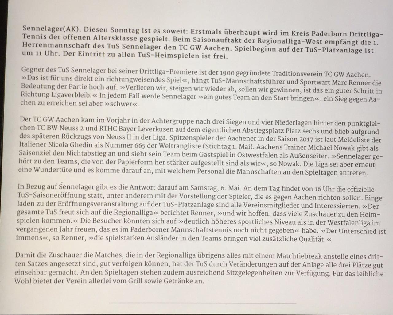 Zeitungsbericht im Westfälisches Volksblatt Paderborn zum ...